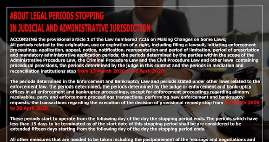 STOPPAGE OF THE LEGAL PERIODS IN JUDICIAL AND ADMINISTRATIVE JURISDICTION